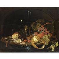 natura morta con uva, ostriche, pane e bicchiere by david cornelisz heem iii