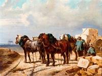 arbeiders met werkpaarden in een steengroeve by wouter verschuur the younger