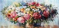 spring flower arrangement with roses by leonid afremov