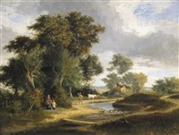 a family in a river landscape by george vincent