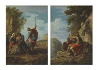 a soldier with a peasant family in a landscape (+ soldiers in a rocky landscape; pair) by andrea locatelli