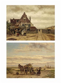 children watching a shellfisher in the dunes; children watching two fishermen at work by a house (pair) by johannes hermanus barend koekkoek