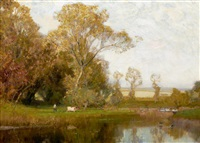 autumn at stow on the wold by sir alfred east