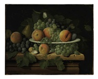 peaches, grapes and a pear in a ceramic dish on a stone ledge with a pear, walnuts, butterflies and a fly by pieter jacob horemans