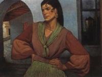 a standing spanish lady by josé maria santa-marina