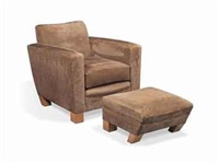 a 'walshingham' armchair and footstool (set of 2) by david linley