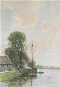 sommerlicher tag an einem kanal bei den haag by willem maris