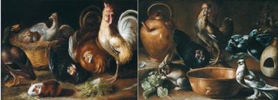 stillleben mit hähnen und anderen tieren coppia di nature morte con galline e altri animali 2 works by giovanni agostino abate cassana