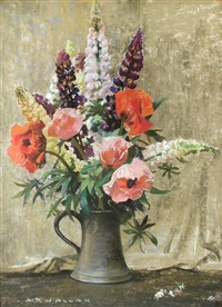 still life of poppies and lupins in a vase by archibald russell watson allan