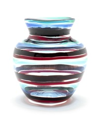 a banded glass vase by fulvio bianconi