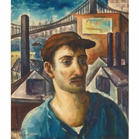 dockworker with bridge scene by paul raphael meltsner