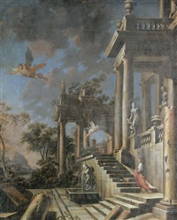 an architectural capriccio with a nymph, a winged youth and cupid (collab. w/giulio carpioni) by francesco aviani
