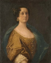portrait of a noblewoman in a jeweled silk dress and green shawl by anton domenico gabbiani