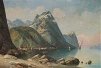 sejlskibe og småbåde i en fjord by siegfried hass