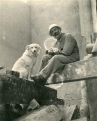 autoportrait avec sa chienne polaire dans l'atelier by constantin brancusi