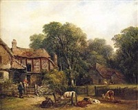 study of a farmstead with two figures conversing beside the gate by william senior
