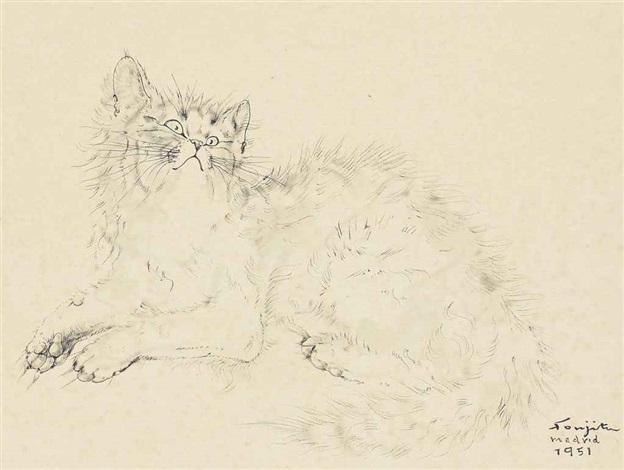 cat by léonard tsuguharu foujita