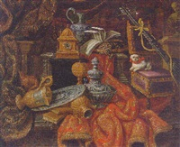 books, a silver salver, clock and musical manuscript on gold embroidered drapery, with a dog on a chair by a lute by antonio rasio