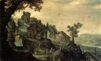 promeneurs sur un pont devant un village fortifié by tobias verhaecht