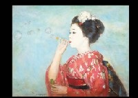 maiko blowing bubbles by eitaro tsuruta