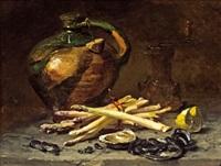 stillleben mit spargel und austern by philippe rousseau
