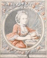 portrait d'une femme assise by francois (marie isod.) queverdo