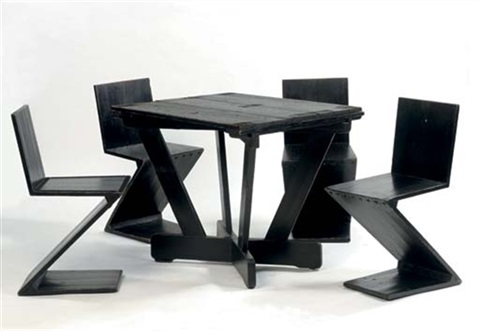 Cool Table And 4 Zigzag Chairs By Gerrit Rietveld On Artnet Short Links Chair Design For Home Short Linksinfo