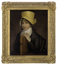 portrait of a lady, seated in a grey dress and yellow hat, her hands resting on a book by jacques-laurent agasse