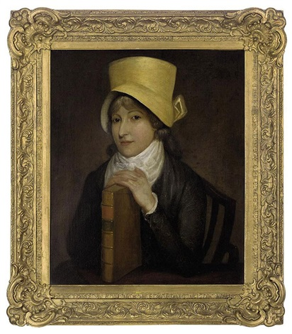 portrait of a lady seated in a grey dress and yellow hat her hands resting on a book by jacques laurent agasse