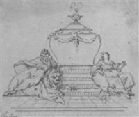 projet de tombeau avec deux figures allégoriques s'appuyant sur un lion et sur un blason by jean-eric rehn