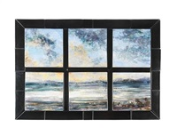seascape six tile panel (designed by david grant) by highland stoneware (co.)