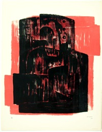 black on red image by henry moore