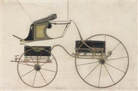 studies of carriages (7 works, some htnd w/gold) by john hutton