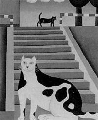 ohne titel (katzen auf der treppe) by maria kloss