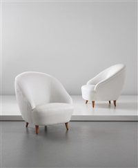 armchairs, designed for the vi triennale, milan (pair) by gio ponti