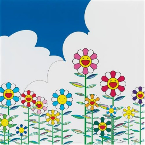 flower flower 2 warm and sunny and floating campsite 4 works by takashi murakami