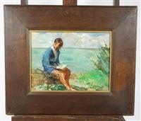 personnage en bord de mer et paysage (recto-verso) by auguste leroux