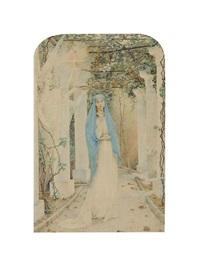 sainte couronnée par deux anges sous une tonnelle de vignes by edouard-marie-guillaume dubufe