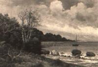 kustlandskap med segelb+t vid brygga by axel reinhold lindholm