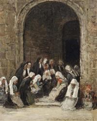sortie de messe en bretagne: the widows of touque, bretagne by eugène boudin