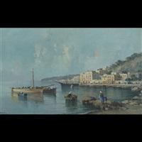 mediterranean harbour scene by c. fortis