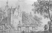 a castle with a figure crossing a bridge by pieter jan van liender