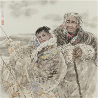 grandmother & grandson on the plateau by ren jimin
