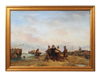 fisher folk with nobleman unloading a ship on shore by eugène modeste edmond le poitevin