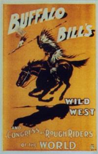 buffalo bill's wild west. indien à cheval sur fond orange by posters: buffalo bill