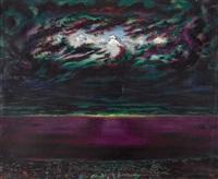 seelandschaft mit bergspitzen zwischen wolken by andré jean evard