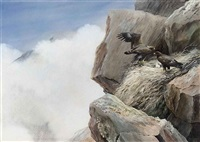 an eagles' nest, with two golden eagles and their chicks, in the highlands by david morrison reid henry