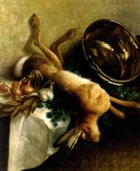 nature morte aux lièvre, chaudron et oignons by narcisse rabier