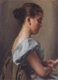 portrait einer lesenden jungen frau by ignaz mansch
