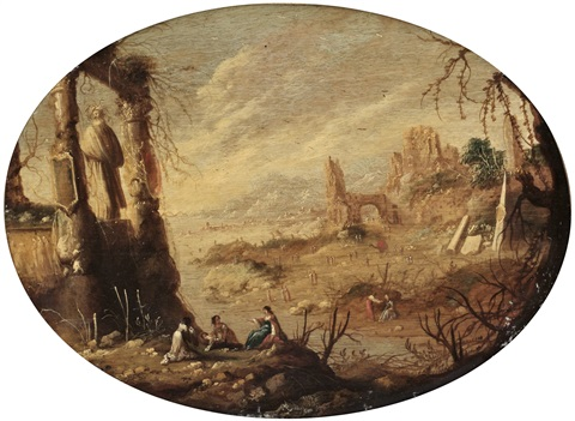 faraos dotter finner moses arkaiskt figurlandskap pair by rombout van troyen